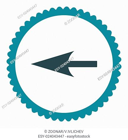 Sharp Left Arrow flat soft blue colors round stamp icon