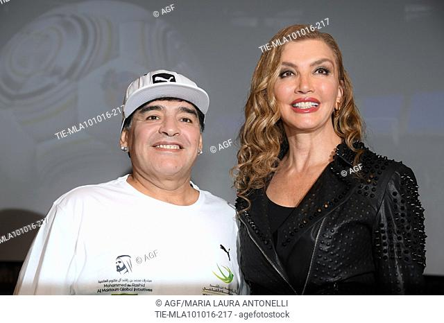 Diego Armando Maradona, Milly Carlucci attends the photocall for the charity match 'United for Peace', Rome, Italy 10/10/2016