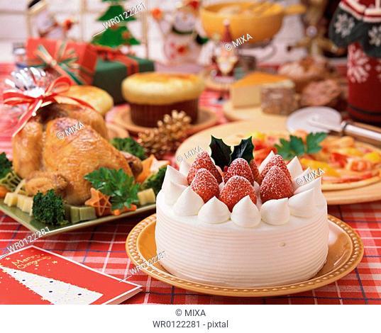 Plenty dishes arranged for Christmas dinner
