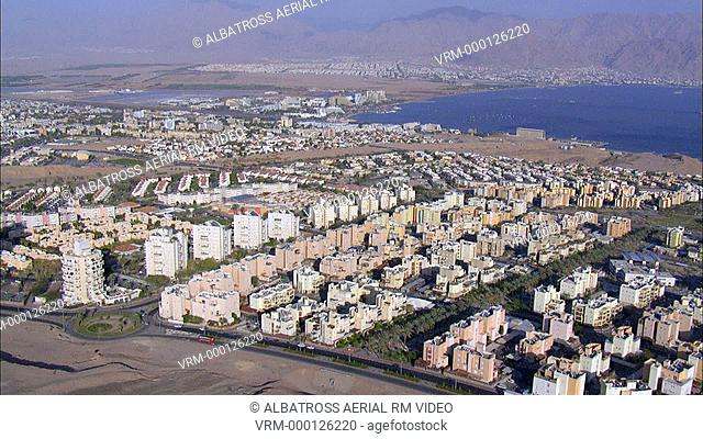Aerial footage of Eilat City and Gulf of Eilat