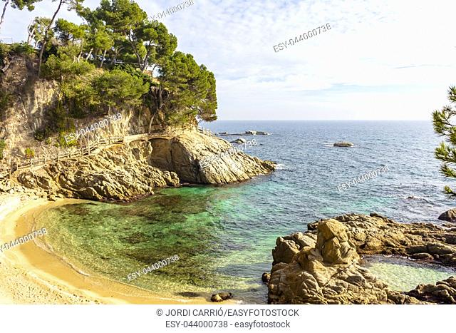 View of Cala Roca del Paller located on the coastal road from Platja d'Aro to Calonge on the Costa Brava, Catalonia