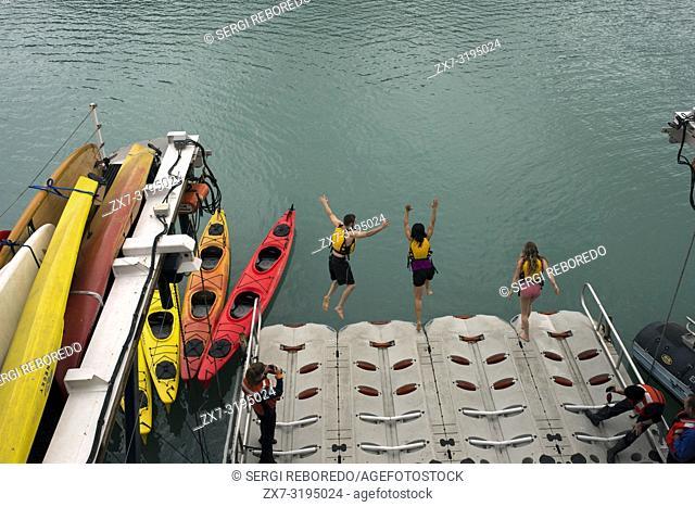 Passengers of the cruise Safari Endeavour take a polar plunge at Frederick Sound. Stephen's Passage. Petersberg. Alaska. USA