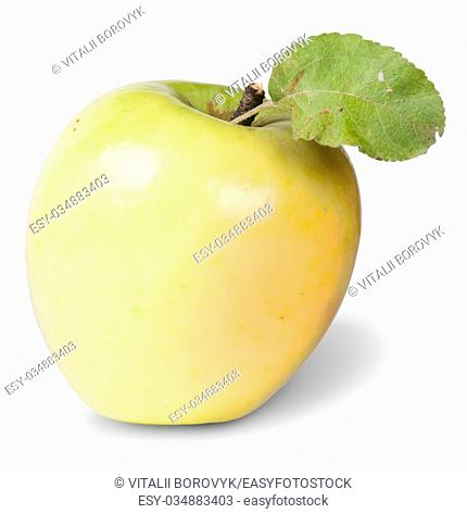 Yellow Apple With Green Leaf Isolated On White Background