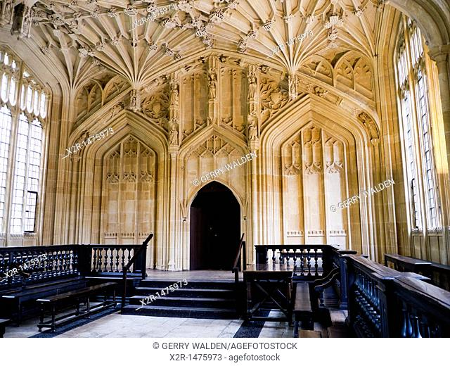 Architectural detail of the Divinity School within the Bodleian Library in Oxford  The Library dates from the latter part of the 15th century
