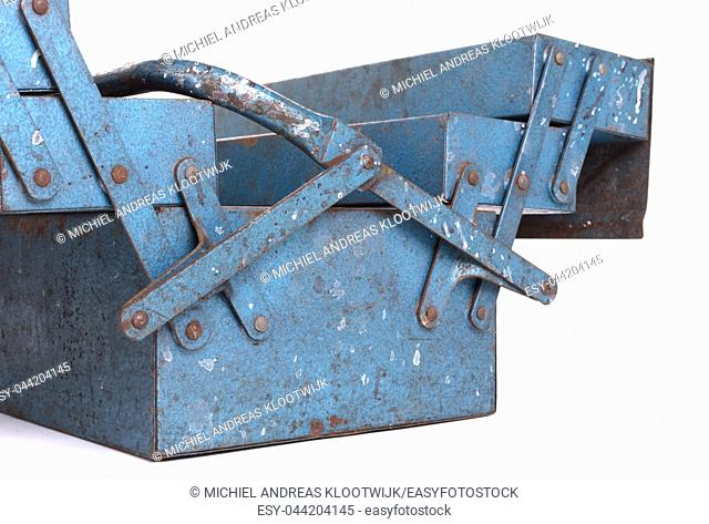 Old metal toolbox, isolated on a white background