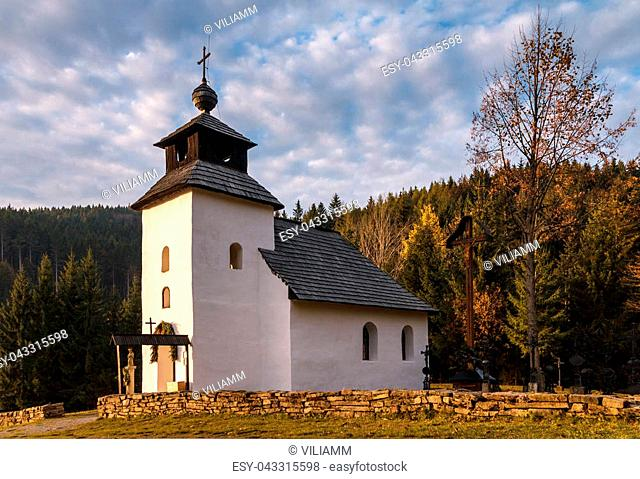 Historic chapel in the museum Kysuce village, Slovakia, central Europe