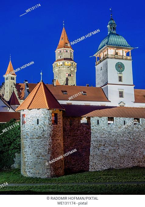Medieval castle Bouzov at night, Czech Republic, Europe