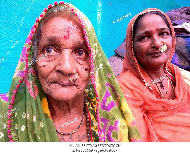 portrait of indian women at festival in junagadh, gujarat, india