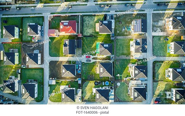 Directly above view of houses in suburb, Berlin, Brandenburg, Germany