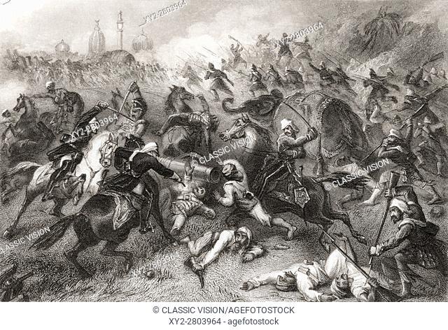 Havelocks column attacking the mutineers before Cawnpore, 1857. Major General Henry Havelock, 1795 to 1857. Britsh General