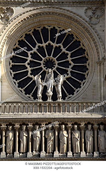Rose window of Notre Dame with apostles, Paris, France
