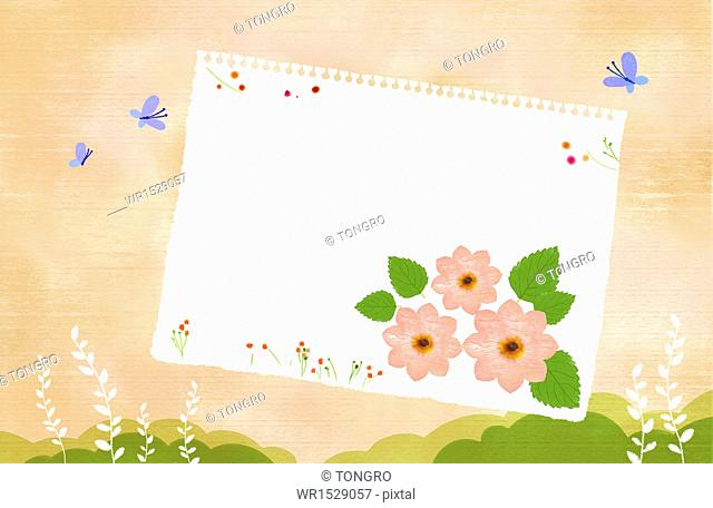 a template with a copy space with several flowers