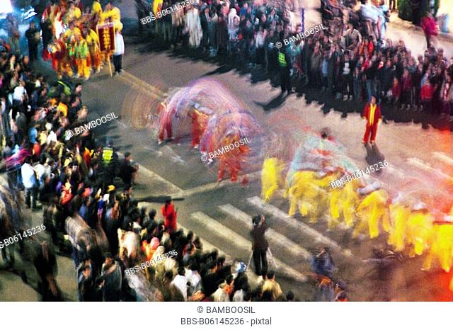 Parade at the lantern festival between Mawei and Mazu, Mawei District , Fuzhou City, Fujian Province, People's Republic of China