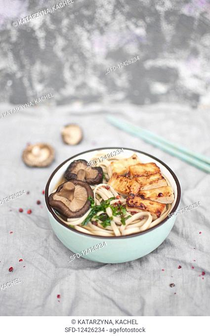 A bowl of japanese ramen noodle soup