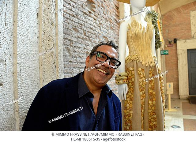 Exhibition ' L'Eleganza del Cibo. Tales about food & fashion Trajan's market, the stylist Guillermo Mariotto, Rome, ITALY-18-05-2015