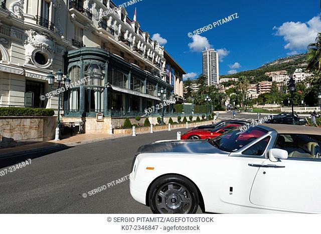 Cars parked in front of Hotel de Paris, Place du Casino, Montecarlo, Principauté de Monaco