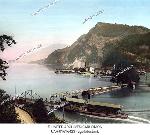 Switzerland, Canton of Nidwalden, Swing bridge in Stansstad on the Lake Lucerne, image date: circa 1910. Carl Simon Archive