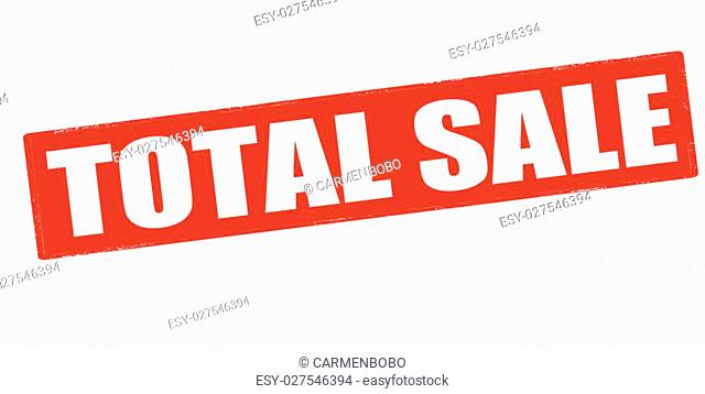 Rubber stamp with text total sale inside, vector illustration