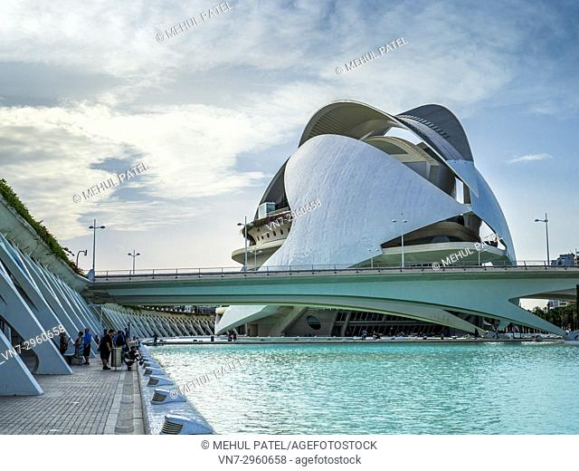Palau de les Arts (Opera house and music venue) inside the City of Arts and Sciences complex, Valencia, Spain, Europe. The Palau de les Arts designed by local...