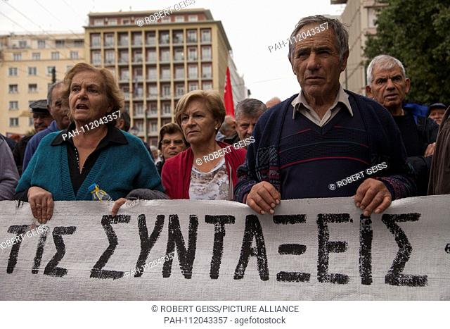 """Greek pensioners during protest against planned cut in pension payments beginning 2019. Banner """"""""The Pension"""""""". 20.11.2018 