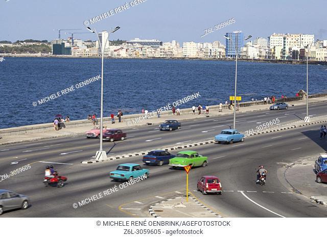Traffic along the Malecon in Havana Cuba