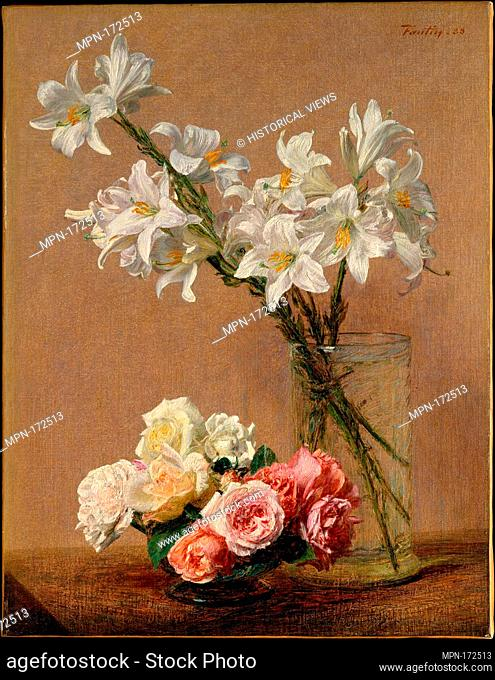 Roses and Lilies. Artist: Henri Fantin-Latour (French, Grenoble 1836-1904 Buré); Date: 1888; Medium: Oil on canvas; Dimensions: 23 1/2 x 18 in. (59