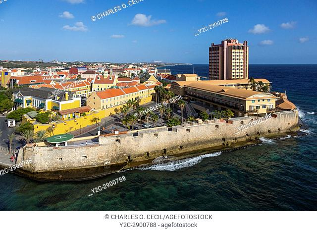 Willemstad, Curacao, Lesser Antilles. Ft. Amsterdam, Guarding Entrance to Sint Anna Bay. Governor's Palace on left