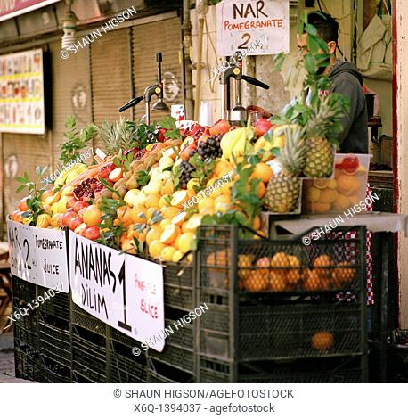 Fruit stall in the Beyoglu district of Istanbul in Turkey in the Middle East