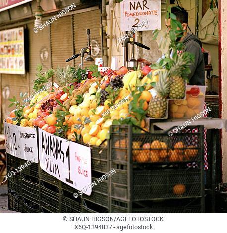 Fruit stall in the Beyoglu district of Istanbul, Turkey
