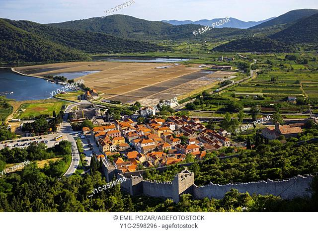 Ston old town in Dalmatia, Croatia, landscape saltworks in background