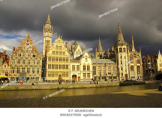 Graslei beside the Leie in the historic city centre of Ghent, Belgium, East Flanders, Gent