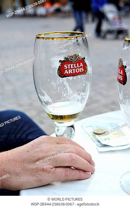 empty beer glass, Place de la Liberte, Sarlat-la-Caneda, Dordogne Department, Aquitaine, France