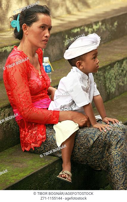 Indonesia, Bali, Mas, temple festival, people, odalan, Kuningan holiday, mother and son