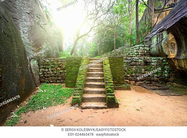 Ancient staircase, covered with moss on the Sigiriya in Sri Lanka