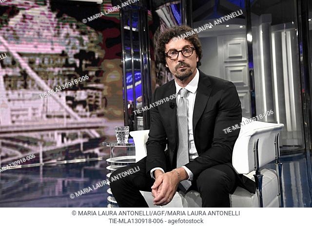 Italian Minister of Transportation and Infrastructures Danilo Toninelli during the tv show Porta a porta, Rome, ITALY-12-09-2018