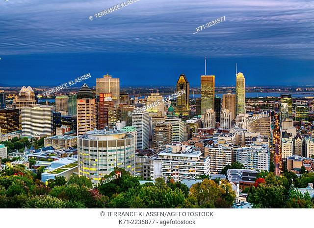 The downtown city skyline of Montreal, Quebec, Canada at dusk