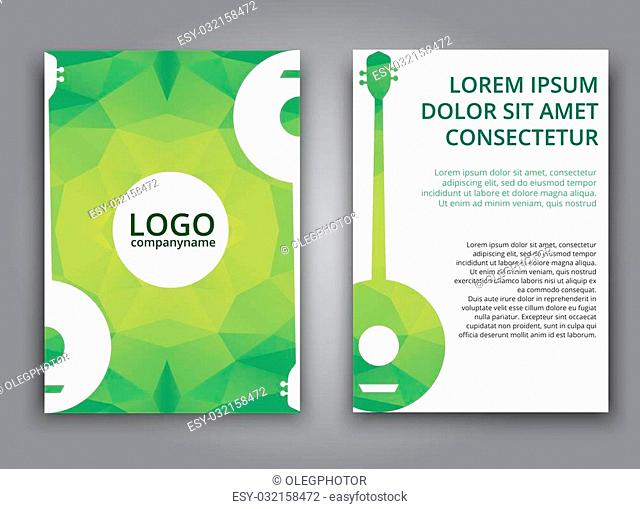 Template brochures, posters, flyers, and print advertising, with green polygonal elements and banjo. Vector illustration
