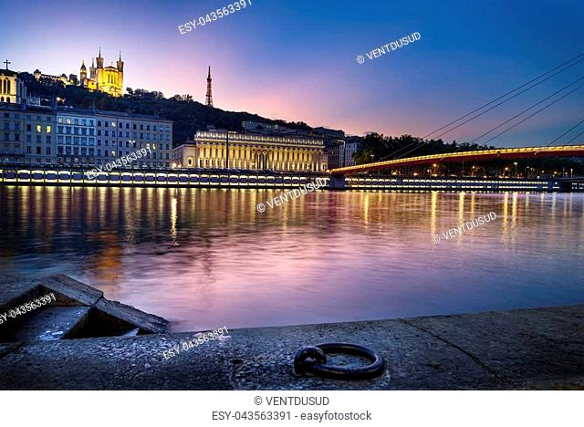 night view from Lyon city near the Fourviere cathedral and Sa?ne river