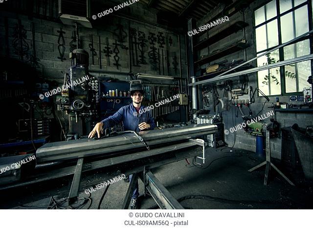 Portrait of welder in workshop