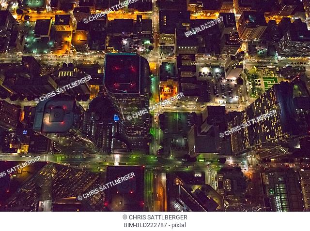 Aerial view of Los Angeles cityscape lit up at night, California, United States
