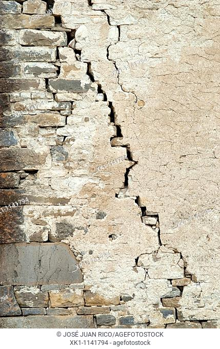 Crack in a wall of an old house, Spain
