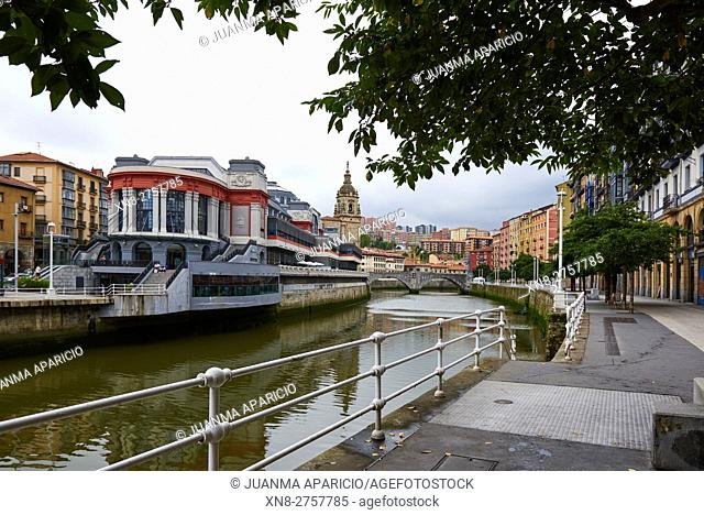 La Ribera Market in the Old Quarter of Bilbao, Biscay, Euskadi, Basque Country, Spain, Europe