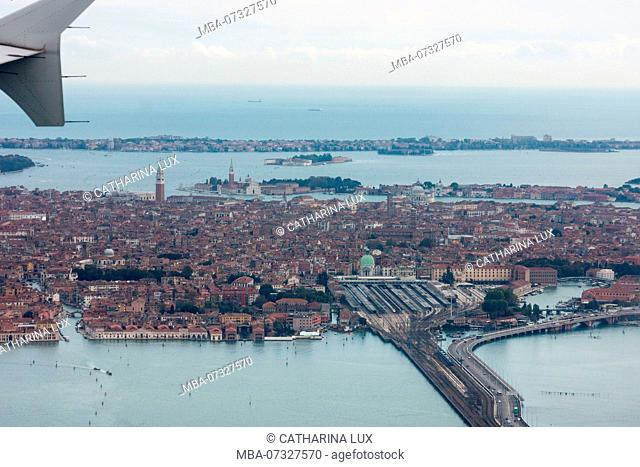 Venice, lagoon, view from approaching airplane