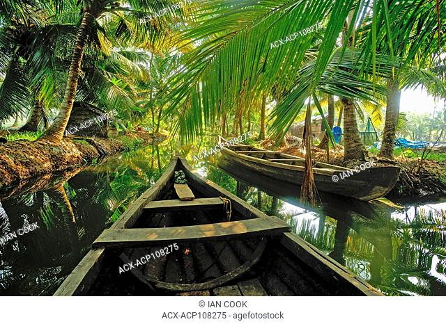backwaters of Monroe Island, Kerala, India