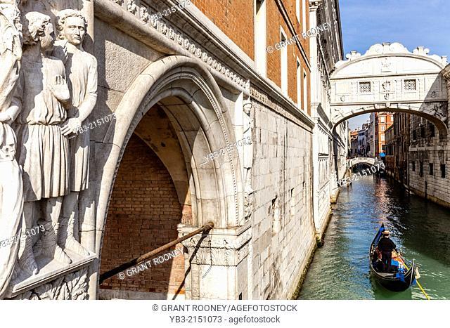 The Bridge Of Sighs & Gondola, Venice, Italy