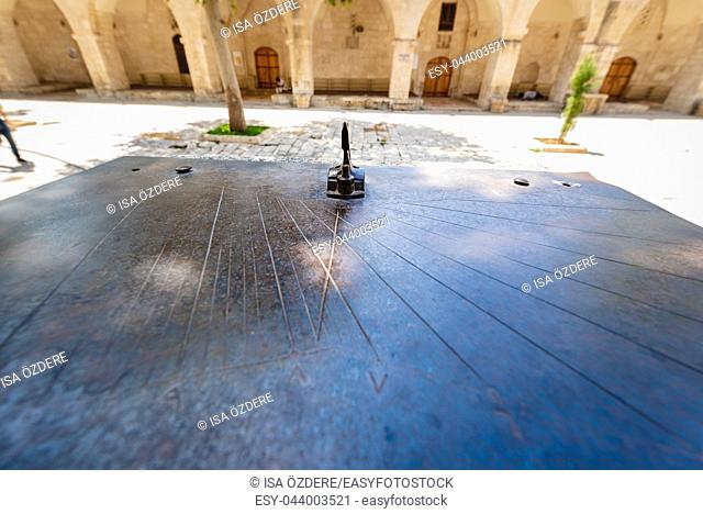 View of old ancient stone sundial in courtyard of Ulu (Grand) Mosque in Sanliurfa,Turkey