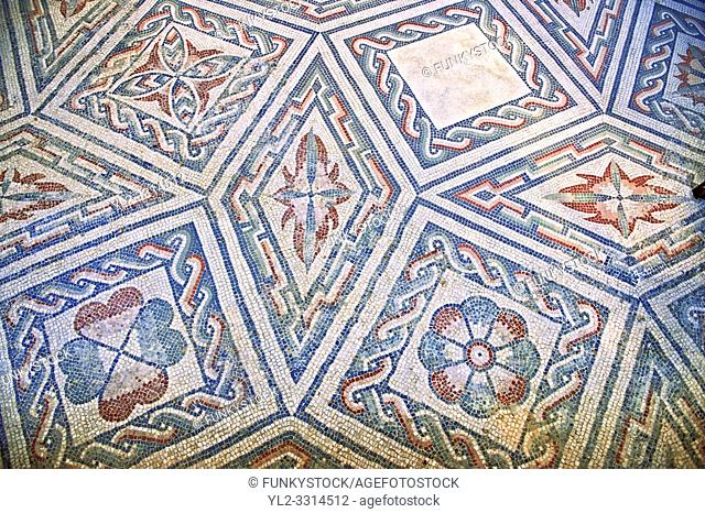Detail of the geometric Roman mosaics at the Villa Romana del Casale which containis the richest, largest and most complex collection of Roman mosaics in the...