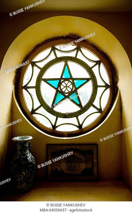 France, Bourgogne, Niévre, Nevers, castle, round window, Pentagramm, pentacle