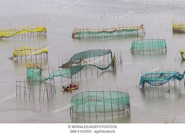 China, Fujiang Province, Xiapu County, Cages with nets for raising fish in open sea, Fish Farming, cages under construction