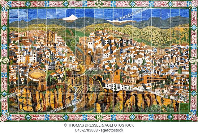 Ceramic board displaying the White Town of Ronda high above the river gorge El Tajo (though the river itself is the Guadalevin)